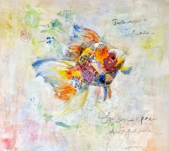 Xiao Shui Hui, Mixed media on canvas, 48cm x 48cm