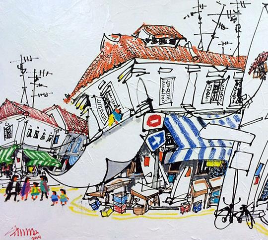 Zhu Hong, Mixed media on canvas, 75cm x 100cm